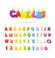 candles font festive cartoon letters and numbers vector image vector image