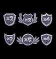 cartoon bonus numbers on stone shield with blue vector image