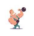 cartoon character muscle man with kettlebells vector image