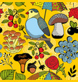 colorful seamless pattern with forest wild bird on vector image