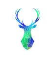 deer low poly portrait blue and green gradient vector image vector image
