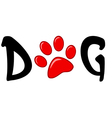 Dog Text With Red Paw Print vector image