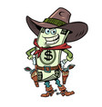 dollar money comical character of a cowboy sheriff vector image