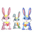 family of three bunnies dad mom and son isolated vector image