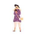 fashion female with film camera 120 mm flat vector image vector image