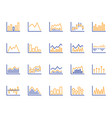 financial chart line icons candle stick graph vector image vector image