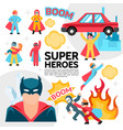 flat superheroes template vector image