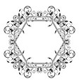 floral decorative frame filigree hexagon ornament vector image vector image