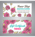gift certificate for flower shop floral voucher vector image vector image