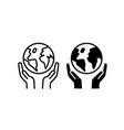 globe line icon and human hand environment eco vector image