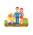 Happy Young Family with Baby in Stroller vector image vector image