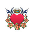 heart with crown swallows and rose wreath tattoo vector image vector image