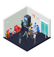 isometric office lobwith security vector image vector image