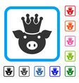 king pig framed icon vector image