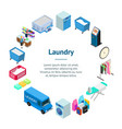 laundry banner card circle 3d isometric view vector image vector image