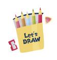 lets draw pencils sharpener and eraser vector image