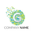 letter g logo blue green yellow particles vector image
