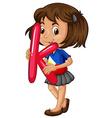 Little girl holding letter K vector image vector image