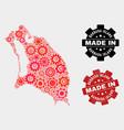 mosaic barbuda island map cogwheel items and vector image vector image