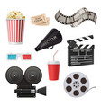 movie 3d icons camera cinema stereo glasses vector image