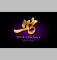 nr n r 3d gold golden alphabet letter metal logo vector image vector image