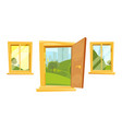 open doors and sunset landscape behind windows vector image