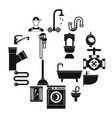 plumbing icons set simple style vector image