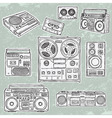 retro musical equipment vector image vector image
