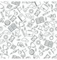 seamless pattern black school supplies vector image vector image