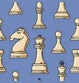 seamless white chess pieces pattern vector image