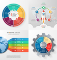 set 4 infographic templates with 5 processes vector image vector image