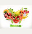 strawberry watermelon carrot and juicy fruits vector image vector image