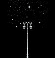 street light lamppost under stars star tree vector image vector image