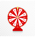 wheel fortune spinning fortune wheel in red vector image vector image
