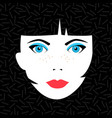 young brunette woman face with fashion make up vector image
