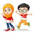 Boy and girl from Singapore vector image