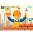 Builder builds brick wall of house vector image