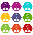 asian man icon set color hexahedron vector image