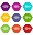 audio digital equalizer technology icon set color vector image vector image