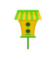 birdhouse with green-yellow roof cute nesting box vector image vector image
