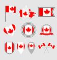 canada flag icons set canadian flag symbols vector image vector image