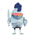 cartoon pig in knightly armor with a sword vector image vector image