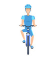 cheerful man riding a bike multicolored poster vector image vector image
