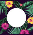circle sticker with flowers and leaves background vector image