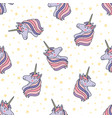 colorful seamless pattern with unicorn heads vector image vector image