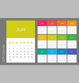 colorful year 2019 calendar template vector image vector image