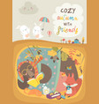 cute animals reading book in den hello autumn vector image