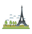 doodle eiffel tower structure and cute trees vector image