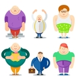 Fat Man Funny Cartoon Characters Set vector image