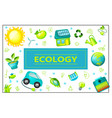 flat green ecology rectangular concept vector image